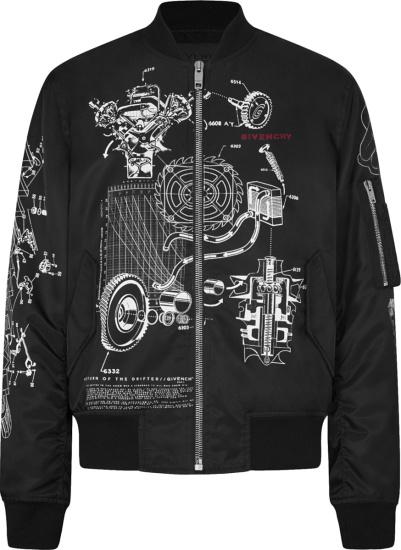Givenchy Black Schematics Bomber Jacket