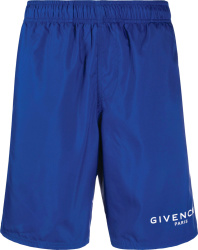 Givenchy Blue Logo Print Swim Shorts