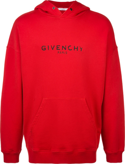 Givenchy Distressed Logo Print Red Hoodie