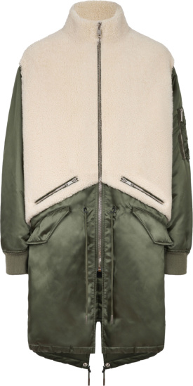 Givenchy Green And White Shearling Coat