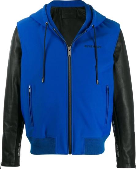 Givenchy Leather Sleeve Blue Hooded Jacket
