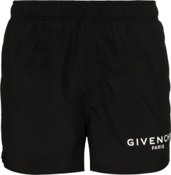 Logo Print Black Swim Shorts