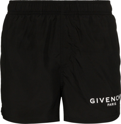 Givenchy Logo Print Black Swim Shorts