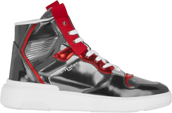 Givenchy Metallic Silver And Red High Top Wing Sneakers