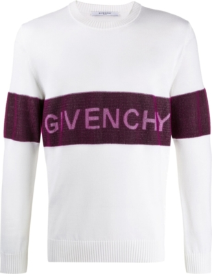 Givenchy Purple Stripe White Sweater