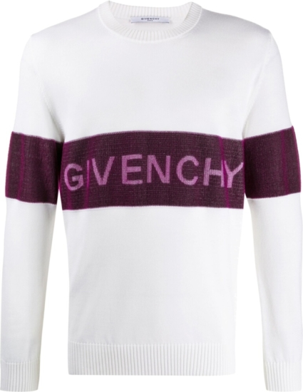 Givenchy Purple Stripe White Sweater