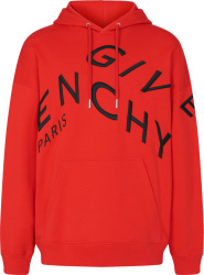 Givenchy Red And Black Broken Logo Hoodie Bmj07g30af 606