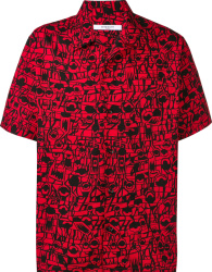 Givenchy Red Black Abstract Print Shirt