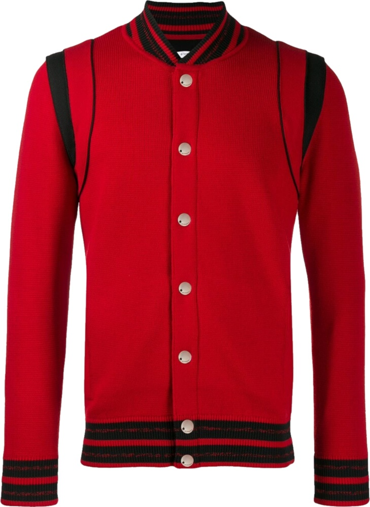 Givenchy Red Knit Bomber Jacket