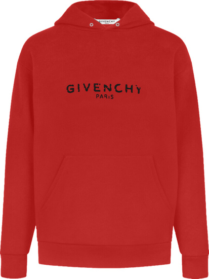 Givenchy Red Paris Logo Hoodie