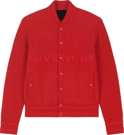 Givenchy Red Wide Logo Embroidered Bomber Jacket Bm00r64y82 600
