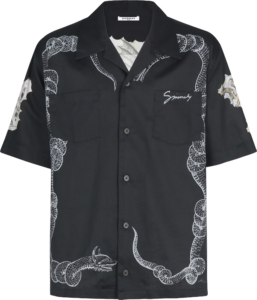 Snake & Icarus Print Black Hawaiian Shirt