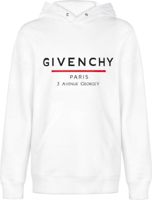 Givenchy White Address Print Hooded Sweatshirt