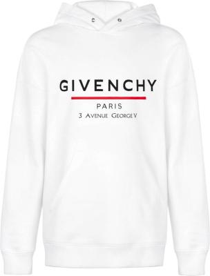 Givenchy White Address Print Hooded Sweatshirt
