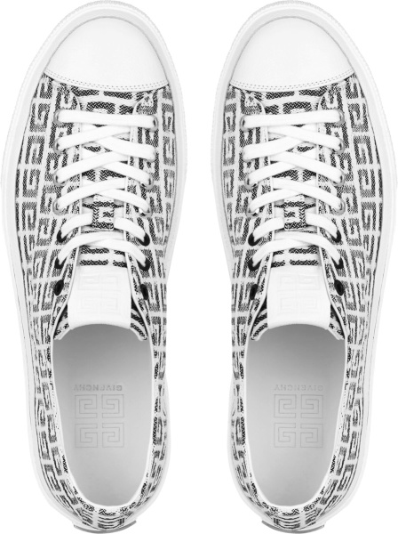 Givenchy White And Black 4g City Low Sneakers