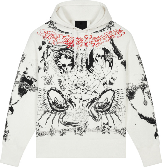 Givenchy White And Black Allover Tattoo Print Hoodie
