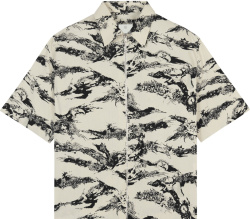 Givenchy White And Black Gothic Print Zip Shirt
