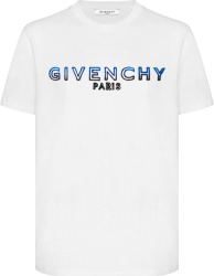 Givenchy White And Blue To Black Gradient Logo Embroiderd T Shirt
