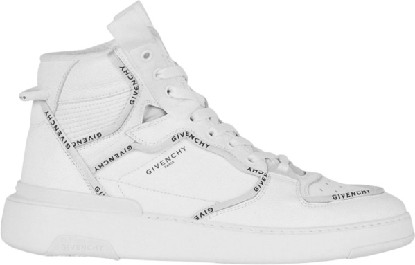 Givenchy White Logo Piped High Top Wing Sneakers