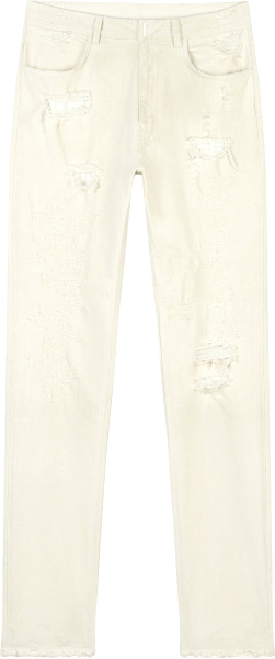 Givenchy White Slim Destroyed Jeans