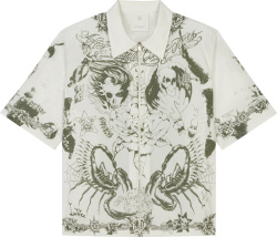 Givenchy White Tattoo Print Zip Shirt