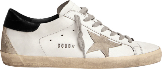 Golden Goose Distressed White And Black Heel Super Star Sneakers