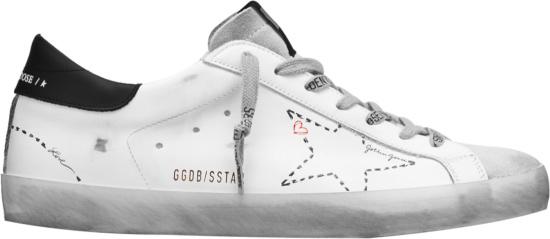 Golden Goose White And Black Heel Suprestar Outline Low Top Sneakers Gmf00101f00012410278