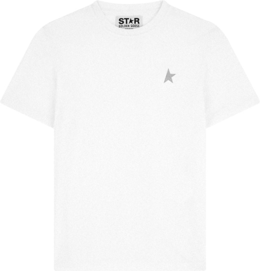 Golden Goose White And Silver Metallic Half Star T Shirt