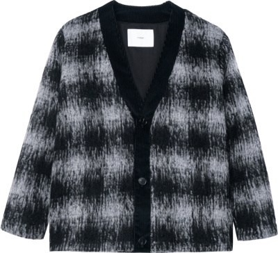 Goodfight Black White Blurry Check Cardigan