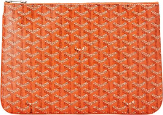 Goyard Orange Senat Zip Laptop Pouch