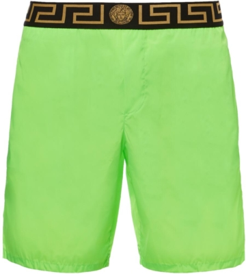 Green Versace Swim Shorts With Black Greko Waistband