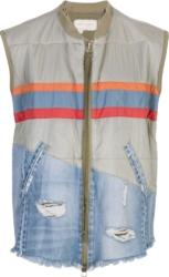 Greg Lauren Two Tone Striped Puffer Vest