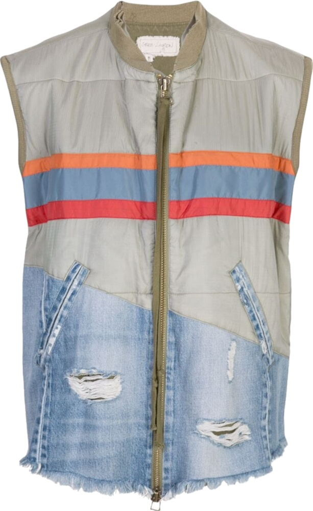 Greg Lauren Two Tone Striped Puffer Vest