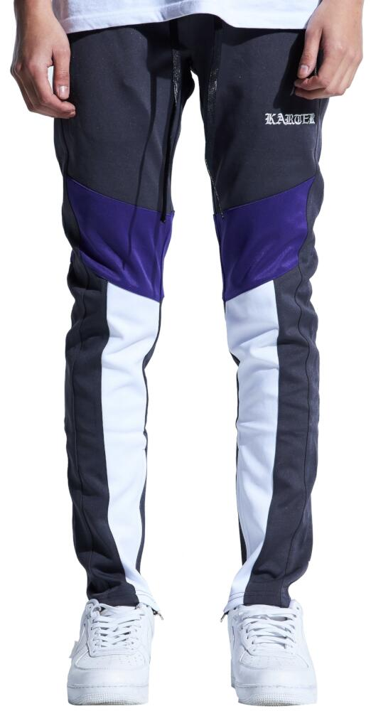 Grey Purple And White Karter Track Pants Worn By Joyner Lucas