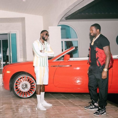 Guccci Mane And Meek Mill Standin In Front Of A Red Rolls Royce In Acw Thom Browne And Louis Vuitton