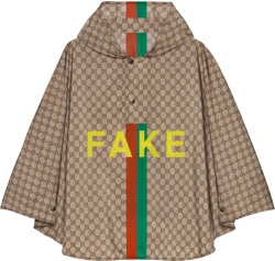 Beige 'Fake/Not' Poncho