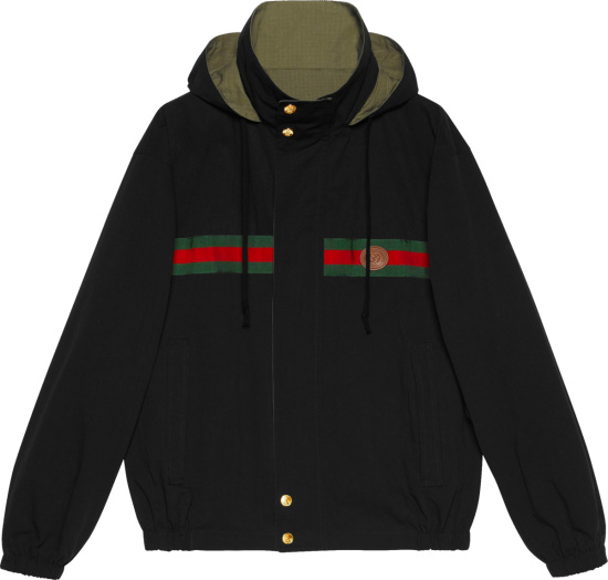 Gucci Black And Green Reversible Jacket 639277 Z8ajt 1043