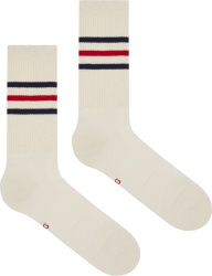 Gucci Blue & Red Striped White Socks 624886 4g492 9268