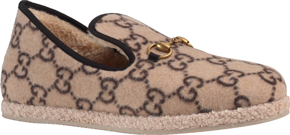 Gucci 'gg' Monogram Beige Wool Loafers