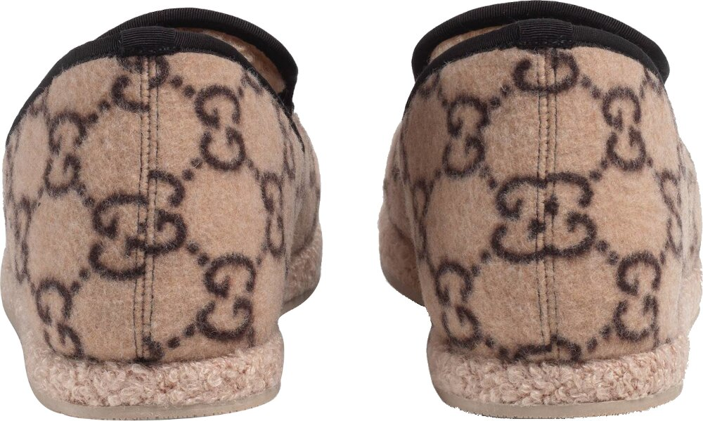 'GG' Monogram Beige Wool Loafers