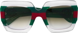 Red & Green Striped Clear Sunglasses (GG0178S)