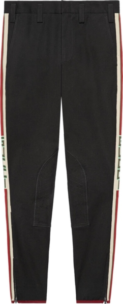 Gucci Gabardine Stretch Pant With Gucci Side Stripe