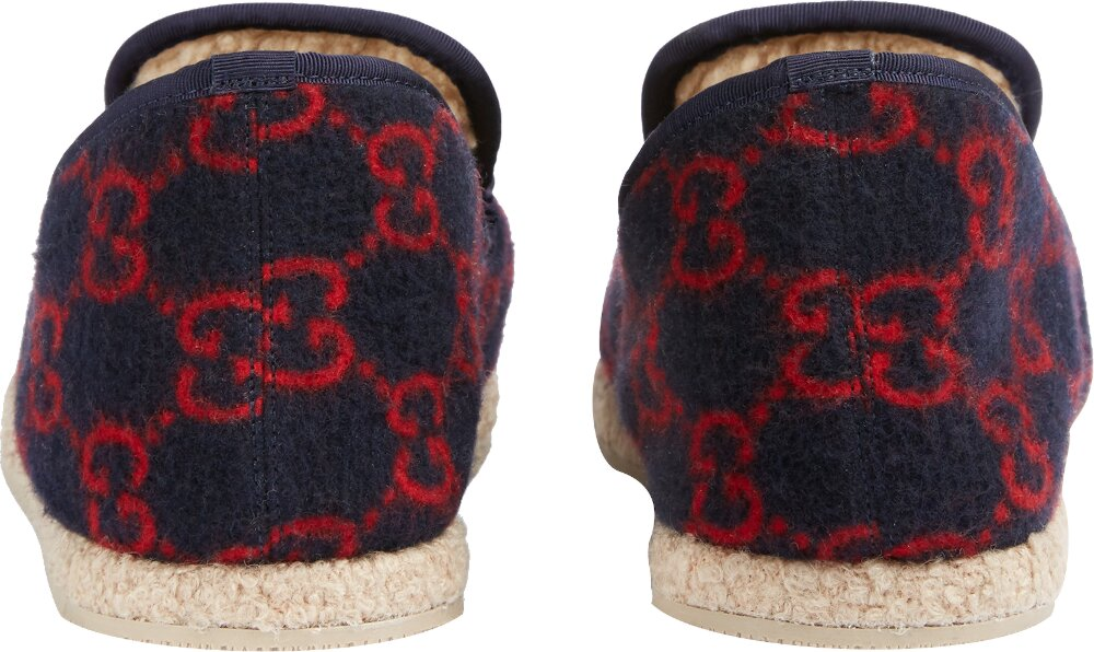 'GG' Monogram Navy Wool Loafers