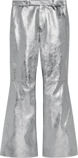 Gucci Metallic Silver Flared Leather Pants 615203 Xnaj3 8100