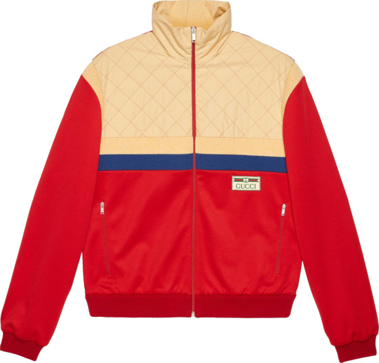 Gucci Red & Beige Quilted Colorblock Track Jacket
