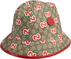 Gucci Apple Print Beige Gg Bucket Hat