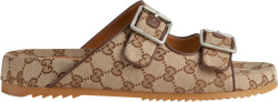 Gucci Beige And Brown Gg Strap Sandals