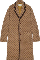 Gucci Beige And Brown Gg Wool Coat