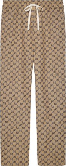 Gucci Beige And Navy Gg Canvas Jogging Pants