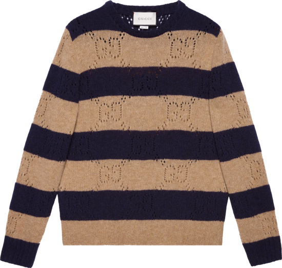 Gucci Beige And Navy Striped Sweater 645293 Xkbph 2420